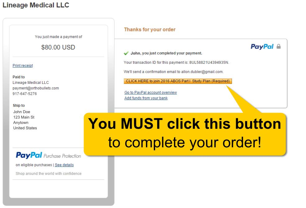 Click yellow button after paying to add product to your account