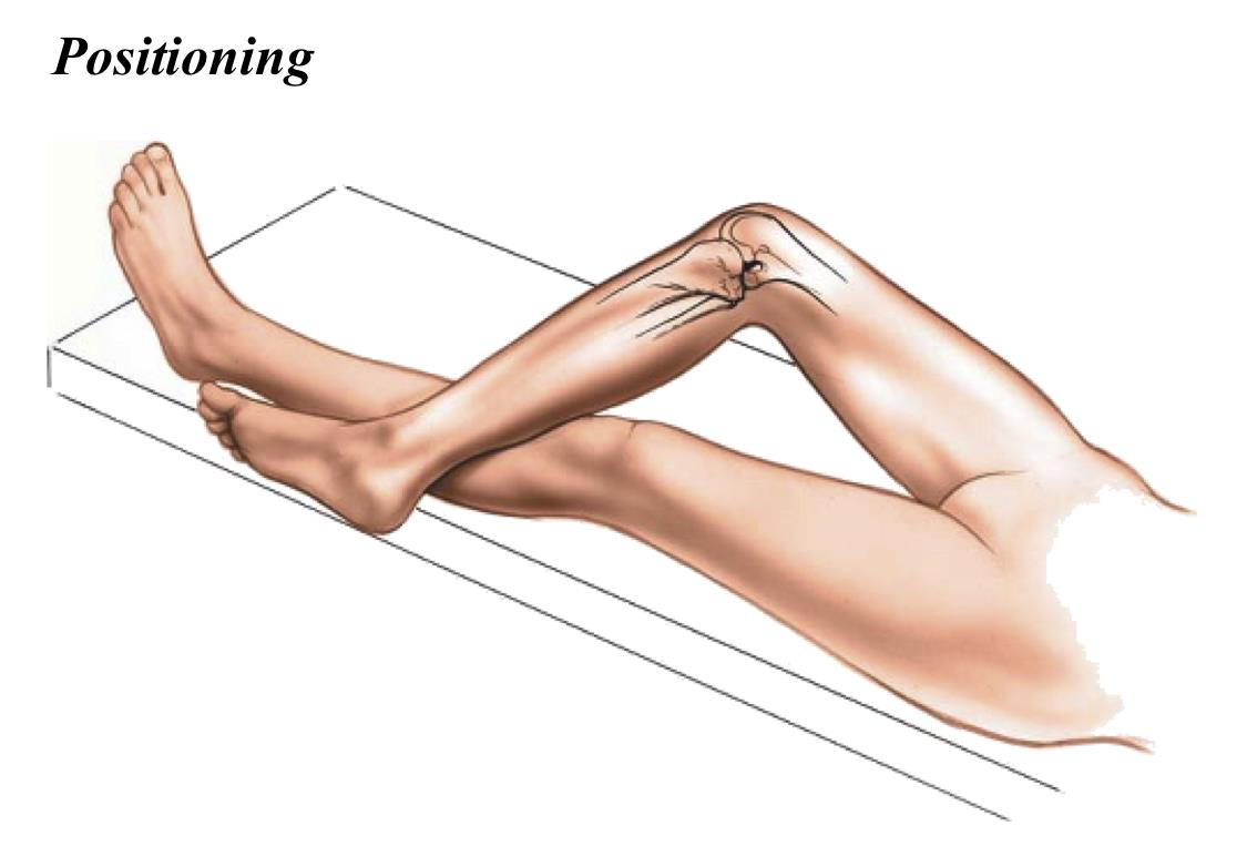 Positioning for the medial approach to the knee